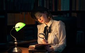 Wallpaper blouse, iBi Photo, girl, Daria Góźdź, mood, library, lamp, takes, magnifier, books