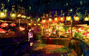 Picture street, anime, lights, girl, painting