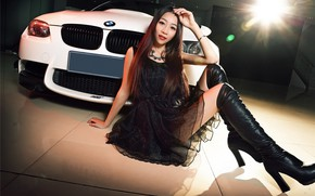 Picture auto, look, Girls, BMW, Asian, beautiful girl, sitting on the machine
