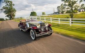 Picture road, auto, retro, speed, convertible, Duesenberg, LWB, Phaeton, 510-2540