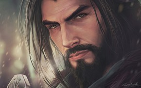 Picture look, face, hair, art, male, beard, aenaluck