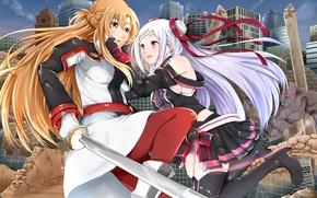 Picture girls, anime, art, Sword Art Online, Asuna Yuuki, Yuna, Ordinal Scale