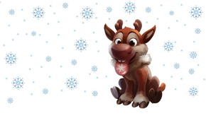 Picture winter, snow, snowflakes, holiday, new year, deer, art, children's, Lightning, deer of Santa Claus, Bliksem