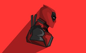 Picture red, background, fiction, shadow, vector, mask, costume, swords, Deadpool, Deadpool, comic, katana