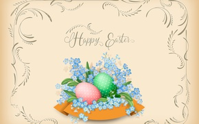 Picture Easter, forget-me-nots, postcard, eggs