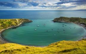 Picture sea, England, boats, Dorset, The Jurassic coast, Lulworth Cove
