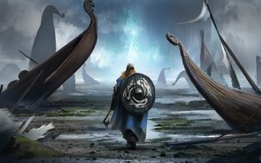 Picture axe, man, viking, shield, pearls, bolt, viking cataclysm