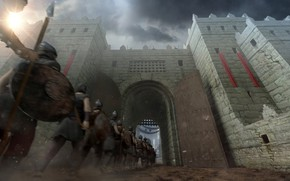 Picture grille, fortress, warriors, the gates, Gibeah Gate