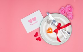 Picture flower, love, heart, rose, candle, knife, hearts, love, plug, romantic, postcard, Valentine's Day, serving