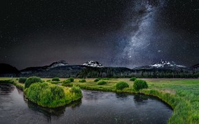 Wallpaper river, the sky, the milky way, stars, mountains, night
