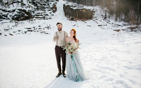 Picture winter, the sun, snow, trees, flowers, stones, bouquet, dress, hairstyle, pair, the bride, nature, redhead, …