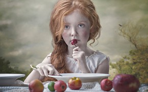 Picture mood, apples, girl, plates, red, bird, redhead, cherry