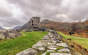 Picture mountains, castle, tower, track, Wales, Snowdonia, Dolbadarn Castle