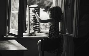 Picture window, girl, scores, b & W photo