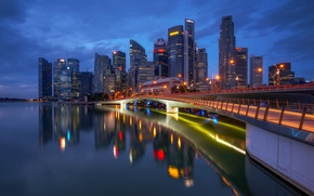 Picture night, lights, Singapore, megapolis, Singapore