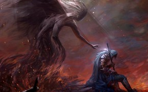 Picture demon, fire, sword, fantasy, armor, weapon, Warrior, bokeh, digital art, artwork, fantasy art, sitting, hood, …