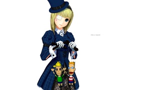 Picture doll, hat, girl, white background, gloves, art, eye patch, cuff, puppets, blue coat, moyacy