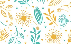 Wallpaper flowers, texture, abstract, yellow, blue, background, floral