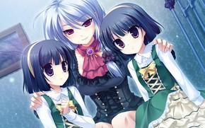 Picture girl, dress, anime, kid, japanese, twin, Midori no Uni