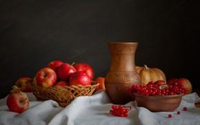 Wallpaper Kalina, apples, pumpkin, still life