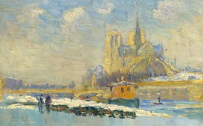 Picture picture, the urban landscape, Albert Charles Lebar, Albert Lebourg, Notre Dame Cathedral and Quay of …