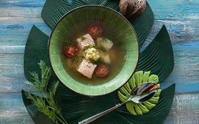 Picture sheet, soup, Cutlery, the first dish