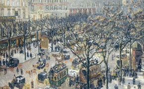 Picture street, home, picture, the urban landscape, Camille Pissarro, The Boulevard Of The Italians. Morning. Sunlight