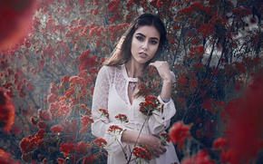 Picture look, girl, branches, mood, flowering, the bushes, flowers, Anahi