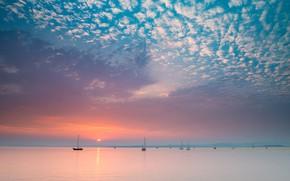 Picture sea, the sky, clouds, sunrise, dawn, yachts, CA, California, Bay San Pablo, San Pablo Bay