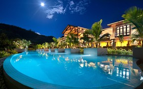 Picture Villa, the evening, pool, resort, Seychelles, Resort, Petit Anse