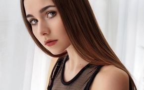 Wallpaper look, girl, close-up, portrait, makeup, hairstyle, curtains, brown hair, cute