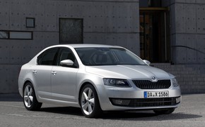 Picture wall, the building, stage, sedan, entrance, Skoda, 2013, Skoda, Octavia, gray-silver