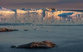 Picture ice, winter, sea, the sky, water, light, nature, stones, ice, glacier, iceberg, ice, ice, North, …
