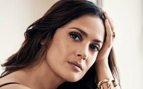 Picture close-up, portrait, actress, brunette, Salma Hayek, Salma Hayek, beauty, 2015, Evening Standard, Jason Kim