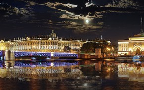 Picture night, reflection, the moon, The Hermitage, calm, The Admiralty, St. Petersburg, The Winter Palace, The ...