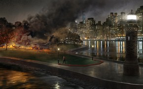Picture trees, night, the city, lights, fiction, fire, smoke, figure, lighthouse, home, art, lights, Bay, the …