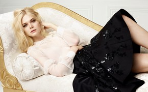 Picture skirt, makeup, actress, hairstyle, blonde, lies, blouse, on the couch, photoshoot, posing, Elle Fanning, El …