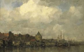 Picture the city, oil, picture, canvas, Jacob Maris Hendrikus, Tower Schreierstoren in Amsterdam