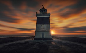 Picture sea, the sky, sunset, lighthouse