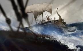 Picture wave, storm, ship, warriors, Trireme