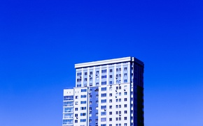 Picture the sky, blue, the building, minimalism, architecture