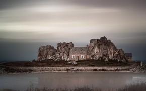 Picture sea, house, shore