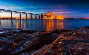 Picture bridge, lights, river, stones, shore, the evening, Scotland, Edinburgh, Fort Bridge, Forth Rail Bridge