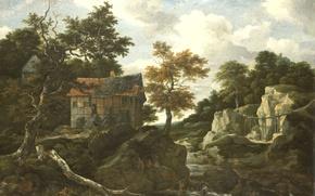 Picture oil, picture, canvas, Jacob van Ruisdael, Rocky Landscape