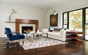 Picture room, interior, fireplace, living room, Highland Park Residence