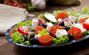 Picture bow, tomato, salad, olives, Greek, cheese