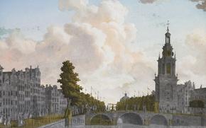 Wallpaper Tower Jan Roodenpoortstoren in Amsterdam, gold, Jonas Zeuner, painting on glass, picture, silver