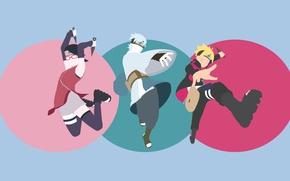 Picture game, anime, ninja, manga, shinobi, Uzumaki Naruto, hitaiate, kunoichi, kunai, Konoha, Uchiha Sarada, Mitsuki, Boruto: …