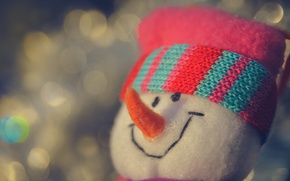 Picture macro, smile, background, toy, new year, snowman