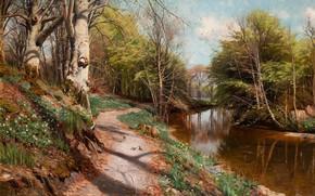 Picture 1909, Danish painter, Peter Merk Of Menstad, Peder Mørk Mønsted, Danish realist painter, Spring landscape …